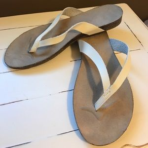 Esprit Shoes - White leather ESPRIT Flip flops LIKE NEW