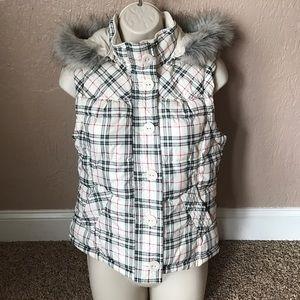 Aeropostale Plaid Hooded Puff Vest
