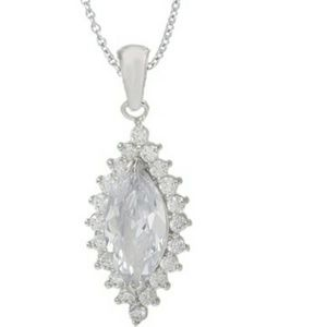 Beautiful Halo setting .925 sterling  necklace