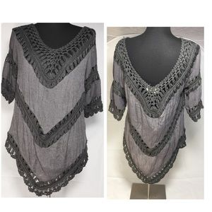 dreamers Tops - Boho Chic Gray Knit Top