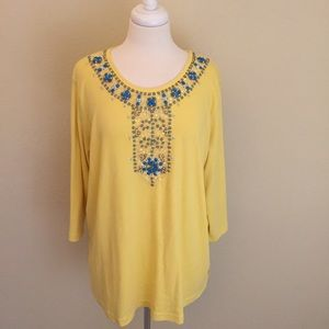 Quacker Factory Tops - NWOT The Quacker Factory Jeweled Top Size 1X