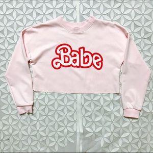 (L) NWOT Crop Top long sleeves Babe