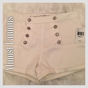 Almost Famous Pants - Almost Famous White High Waisted Shorts