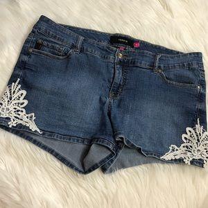 torrid Pants - Torrid Light Blue Denim Jean Shorts Plus Size