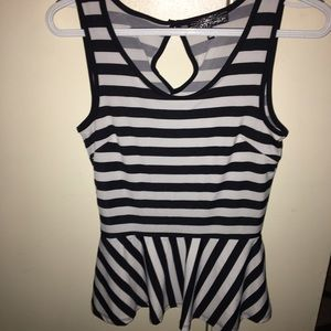 Almost Famous Tops - Black and White Striped Peplum top