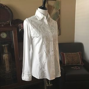 Curvy Couture Tops - Silver Studded Ladies Western Shirt NWT