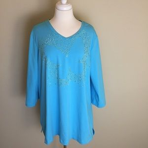 Quacker Factory Tops - The Quacker Factory Jeweled Top Size 1X