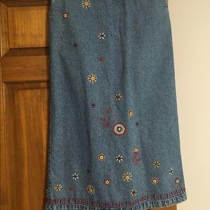 Christopher & Banks Hand Embroidered Denim Skirt