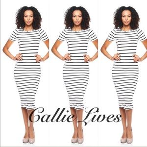Callie Lives Dresses & Skirts - T-Shirt Midi Dress White w Black Bodycon Stripes