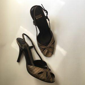 Stuart Weitzman croc/snakeskin slingback heels