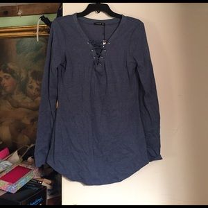 PattyBoutik Tops - BNWT Lace Up Front Shirt