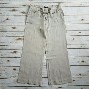 {GAP} Sand Colored Wide Leg Linen Trousers Size 12