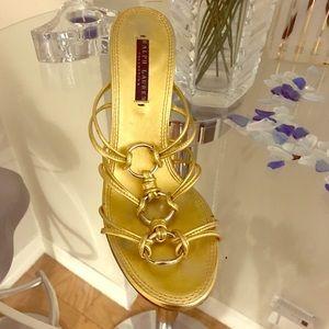 Ralph Lauren Black Label Shoes - RALPH LAUREN COLLECTION GOLD SANDALS