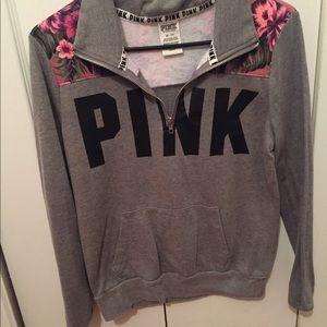 vs pink collar long sleeve half zip xs