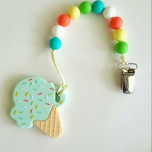 Sale!!! Silicone Teething Pacifier Clip Ice Cream