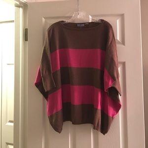 Acrobat Tops - Pink & Brown Poncho Shirt