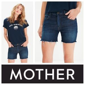 MOTHER Pants - NEW!  The Mother Dropout Fray shorts in dark-wash