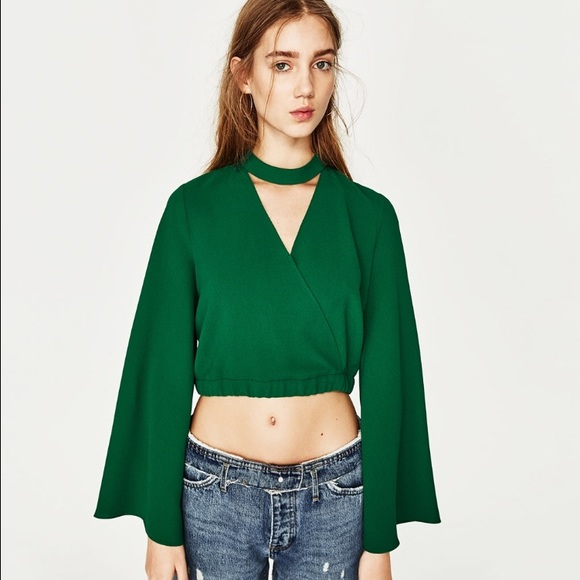 e30f63e7791f70 Zara Tops | Choker Top With Bell Sleeves | Poshmark