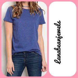 Tops - Distressed relaxed T-shirt!