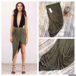 Tobi Dresses & Skirts - TOBI Point Made Olive Midi Skirt size Small NWT