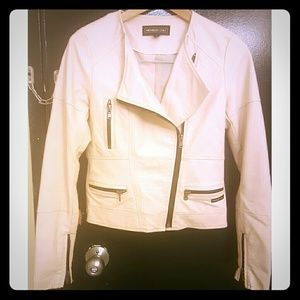 Cream Vegan leather moto jacket