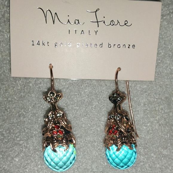 Mia Fiore Jewelry Mia Fiore Rose Gold Plated Aqua Crystal Earrings