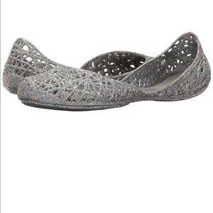 Melissa Shoes - Melissa Zig Zag Shoes Ballet Flats Silver Glitter