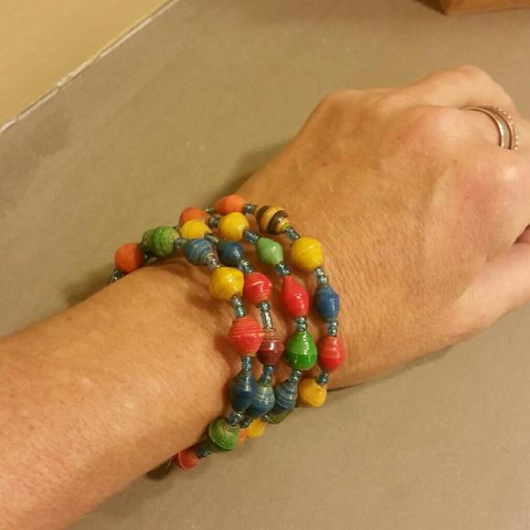Memory Wire Paper Bead Bracelet