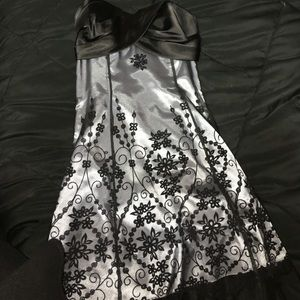 Blondie Nites Dresses & Skirts - Silver and Black A line Strapless Dress
