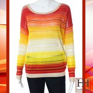 Haute Hippie Tops - HAUTE HIPPIE Red/Yellow Stripe Knit LS Sweater/Top