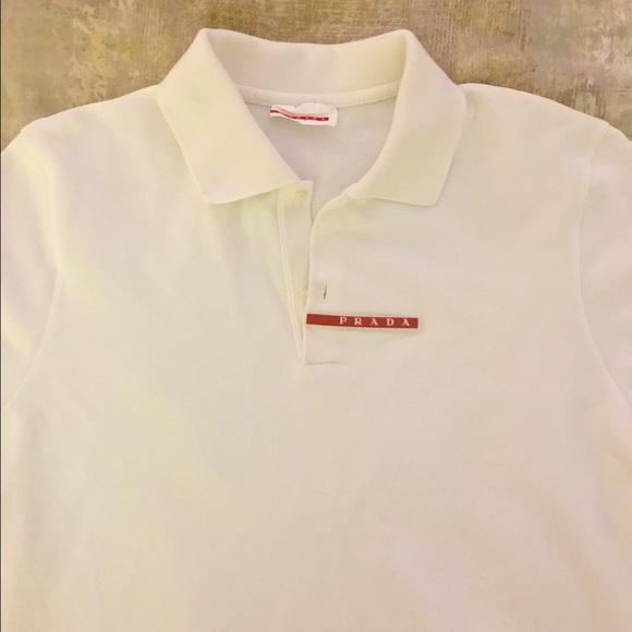 7ebb880b Men's White Prada long sleeve Polo! Sz S. M_58dc8b2741b4e086fd019aea