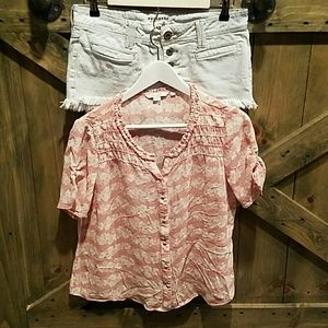 Boden Tops - Soft Pink and Cream Top