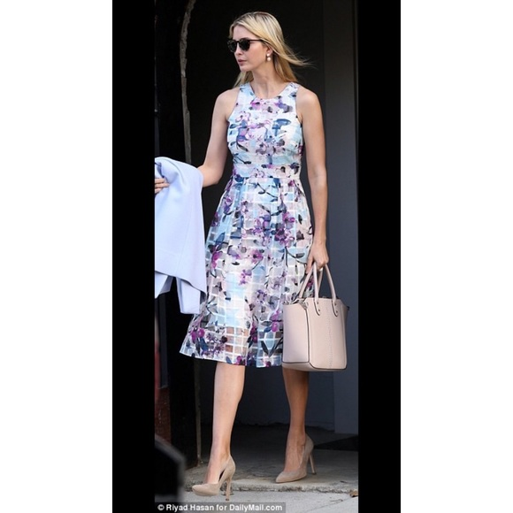 4985af93e40 Ivanka Trump Floral Print Fit   Flare Midi Dress