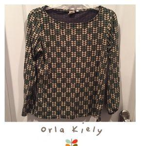 Orla Kiely Tops - Orla Kiely Leaf Pattern Green Long Sleeve Top