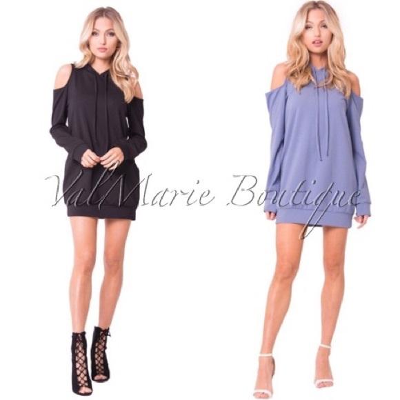ValMarie Boutique Dresses - COMFY COLD SHOULDER HOODIE DRESS