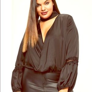 Missguided + Tops - Missguided plus size satin choker insert blouse