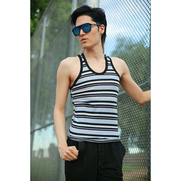 Other - Stripe Slim Fit Stretch Tank Top Racer Back Summer