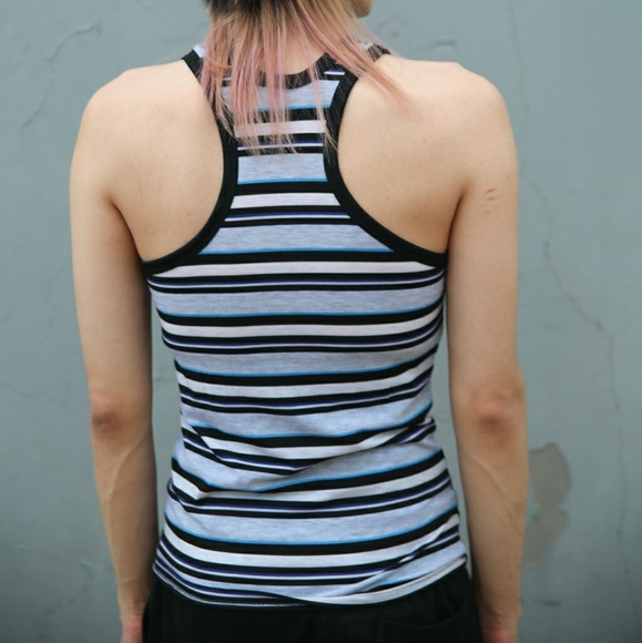 Shirts - Stripe Slim Fit Stretch Tank Top Racer Back Summer