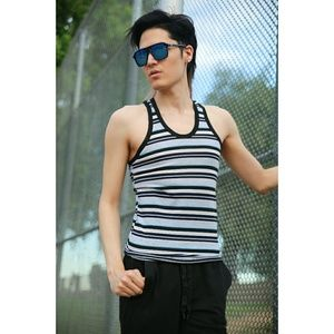 Stripe Slim Fit Stretch Tank Top Racer Back Summer
