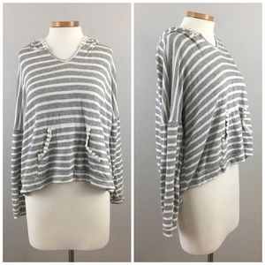 Kaii Tops - Kaii Striped Grey White Pom Pom Oversize Hoodie