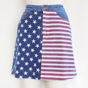 American Flag Denim Skirt