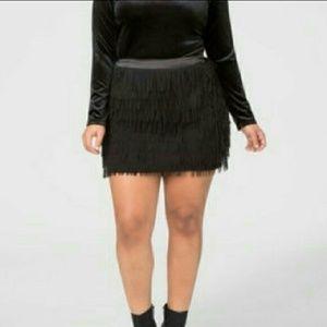 Dresses & Skirts - Black Fringe Skirt size18