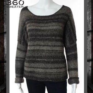 360 Sweater Sweaters - 360 SWEATER Brown/Gray Taupe Stripe Knit Sweater