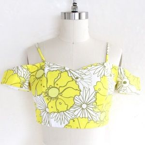 Topshop PETITE Tops - Topshop Sunrise Floral Print Bardot Crop Top