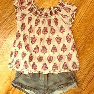 Peek Other - Peek girls top and camo shorts