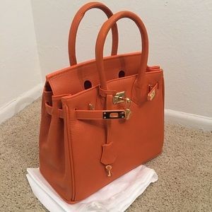 8001955cefcd KARA Imports Bags - SMALL ORANGE LEATHER BIRKIN STYLE BAG