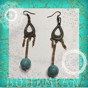 Boho turquoise chandelier earrings