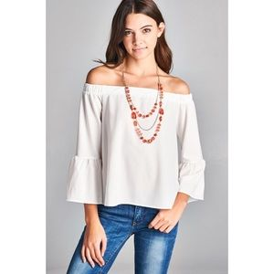 Ivory Bell Sleeve Off the Shoulder Top
