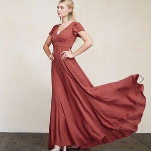 Reformation Mia strawberry bridesmaid gown dress 4