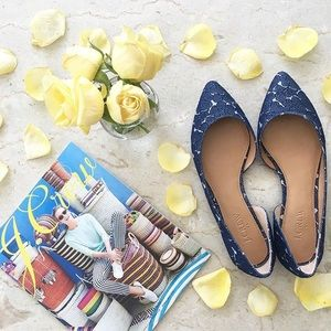J.Crew Factory Shoes - J.Crew Factory D'Orsay Flats in Floral Denim